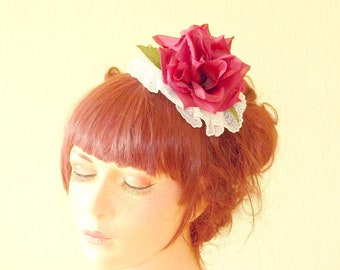Bridal lace hairpiece Floral bridal hairpiece red rose hairclip red rose headpiece bridal hairpiece bridal hairclip maroon rose headband