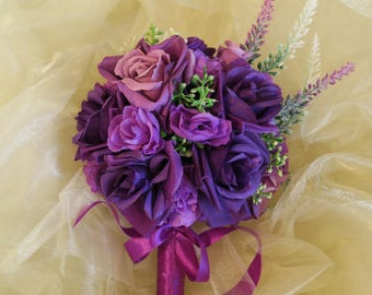 bridal purple bouquet, shades of purple bouquet, fabric flowers bouquet, safe keeping bouquet, whimsical bouquet, purple wedding