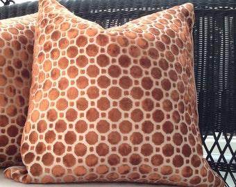 Robert Allen Pillow Cover in Copper Geo Velvet - Backing in Same Fabric