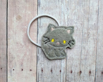 Kitten Accessory, Embroidered Acrylic Felt with Choice of 3 Colors, Choose Headband, Pin, Magnet, Hair Clip, Ponytail, Shoe Clip, Barrette
