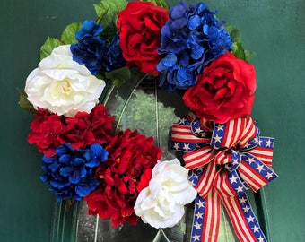 Holiday wreath- fourth of july wreath, memorial day wreath, patriotic wreath, USA, custom wreath, support our troops