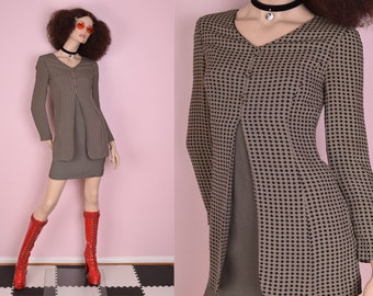 90s Patterned Long Sleeve Dress/ US 2/ 1990s