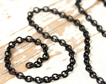 Black Chain 5x6mm Cable, Matte Black Brass Chain Round Oval Link, Solid Brass Made in USA