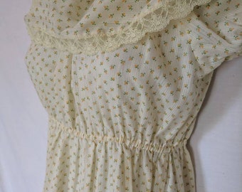 Vintage 1980's Yellow and White Floral Dress