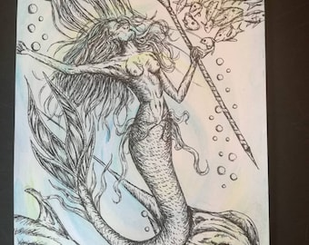 Queen of the Seas, An Original Pen and Ink on Watercolour Mermaid Illustration