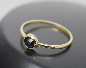 Melamite Garnet Ring, Rose Cut Garnet, 18k Solid Gold Ring, Thin Gold Ring, Stacking Ring, Stackable Ring, January Birthstone, Black Spinel