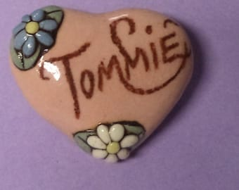 Tommie----Vintage Ceramic Heart Name Pin  Brooch Jewlery Accessories Gift Ideas