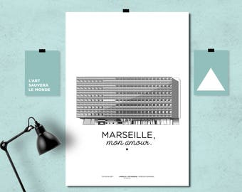 Poster of Marseille / radiant city Le Corbusier of Marseille / printed on A3 210 grams / MARSEILLE, my love.