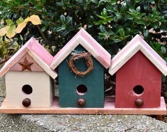 3 in 1 Cedar Birdhouse Village - Country Birdhouses in Red, Green & Tan with Rusty Star and Wreath - Rustic Decor