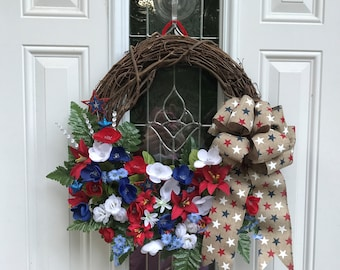 4th of July Wreath, Grapevine Wreath, Patriotic Wreath, Fourth of July Wreath, Independance Day Wreath, Summer Wreath, Sale, Front Door