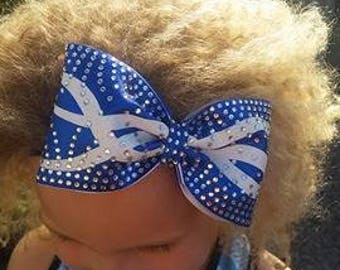 Gorgeous Rhinestone and Swirls custom tailless cheer bow by FunBows !