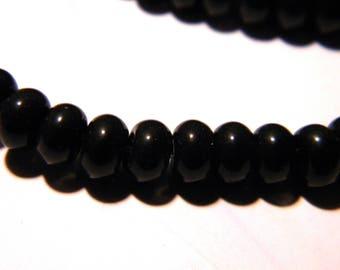 30 beads 6 x 4 - glass abacus - pumpkin way jade - black-F119-3