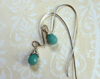 Silverwrapped Amazonite Teardrop Dangle Earrings
