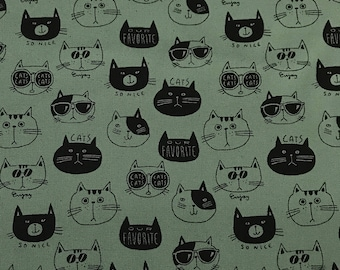 Kokka - Cat Faces on Dusty Green - Cotton Canvas