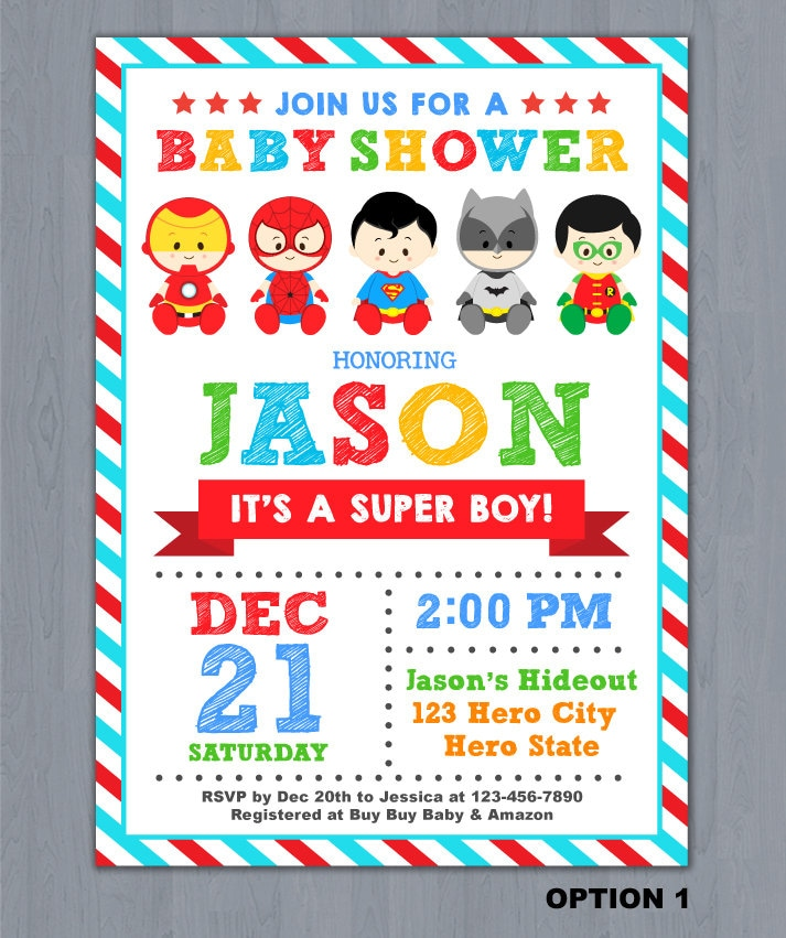 Superhero Baby Shower Invitation Super Hero Baby Shower