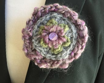 Purple green and gray  brooch one of a kind handmade pin