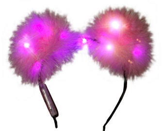 Pink Light-up LED Fuzzy Bear Ears