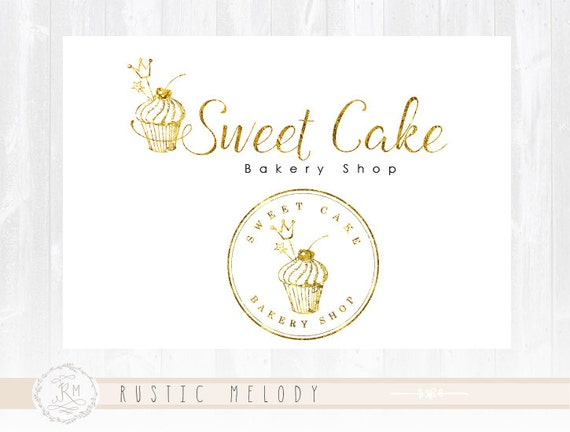 Cupcake Logo Design Gold Foil Cake Bakery Sweets