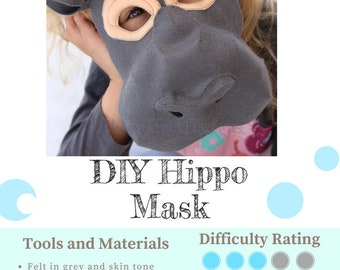 Hippo Mask PATTERN. Kids Animal Mask Sewing Pattern. DIY Party Mask.