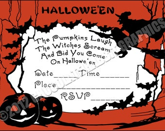 Vintage Halloween Witch Party Invitation 5x7 Printable Digital Download Image You Fill In Yourself