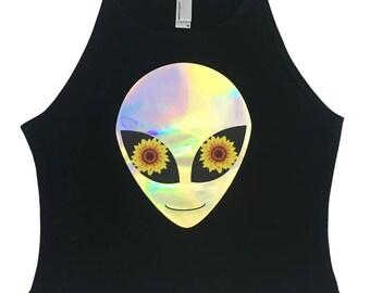 Sunflower Alien Crop Top, Alien Shirt, Holographic, Holographic Crop, Alien Crop, Alien Tank, Alien Tee, Festival Shirt, Galaxy, Rave Tank