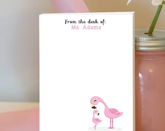 Flamingo Notepad - Personalized Teacher Notepad - Tropical Notepad - Flamingo Classroom - Tropical Classroom - Teacher Gift