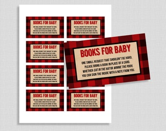 Lumberjack Books For Baby Cards, Book Request Card, Baby Shower Invite Insert, Red Flannel, DIY Printable, INSTANT DOWNLOAD