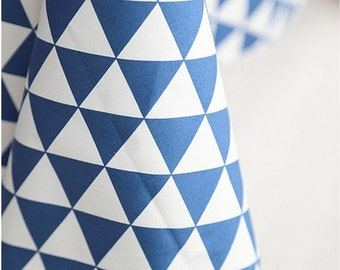Twill Cotton Fabric Triangle Deep Blue By The Yard