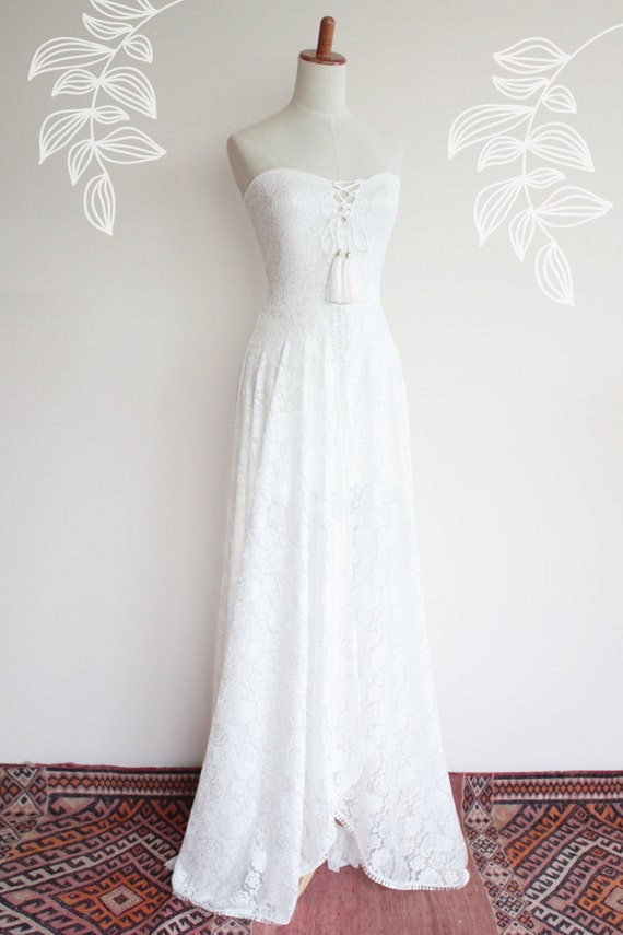 Trägerlosen Brautkleid mit voller Rock Boho Brautkleid