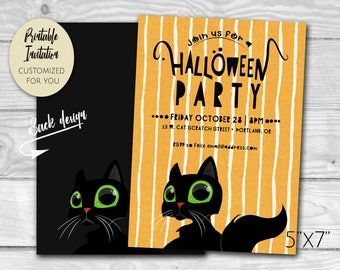 Black Cat Halloween Party Invitation | Custom Printable PDF and JPG