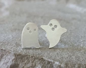 Ghost Studs, Halloween Earrings,  Ghoulish Earrings, Novelty Stud Earrings,  Halloween Jewelry, Casper The Friendly Ghost, Sterling Silver