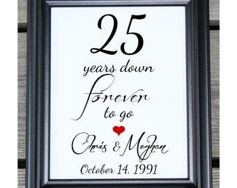 25 Years of Marriage | 25 Years Down | 25 Year Anniversary | 25th Wedding Anniversary | 25th Anniversary Gift  Her Him | Husband Wife Gift