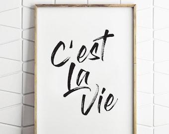 C'est la Vie Print, French Quote, French Decor, Paris Poster, French, Typographic Prints, Paris Decor, French Print, Cest la Vie Poster