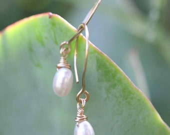 Gold Hoops and Single Teardrop Pearl Earrings