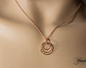 Circle on rose gold-plated 925 silver