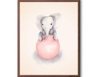 Baby Girl Nursery Decor, Peach and Gray, Nursery Art, Elephant Nursery Art, Kids Wall Art, Elephant Wall Art, New Baby Gift, E342N