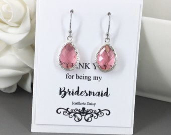 Clearance Dangle Earrings Bridesmaids Earrings Gift for Her Fuchsia Hot Pink Pink Bridesmaid Jewelry Dangle Earrings Gift under 10