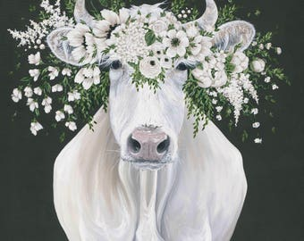 Pearl the Cow Printed Canvas