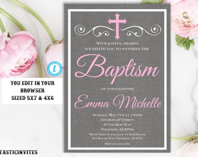 Baptism Invitation Girl Invitation Template, Instant Download, Girl Baptism Invitation, Printable Baptism Invitation, Invite Girl, Editable