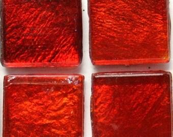"15mm (3/5"") Fire Red Cherry Metallic Foil Backed Glass Mosaic Tiles//Mosaic//Mosaic Supplies/Crafts"