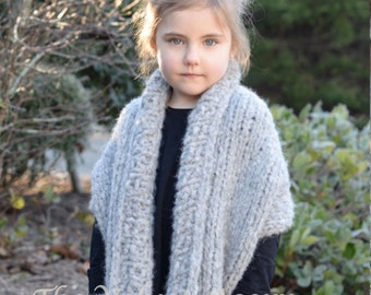 Knitting PATTERN-The Elmy Wrap (2/3, 4/6, 7/9, 10/12, 14/16, Adult Small, Adult Medium, Adult Large sizes)