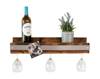 Industrial Shallow Wine Glass Shelf