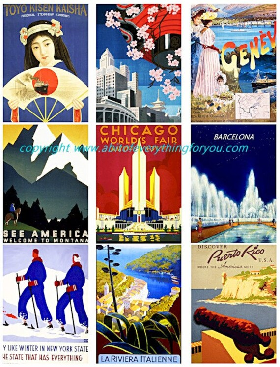 "vintage travel vacation posters clip art collage sheet 2.5"" x 3.5"" inch graphics images digital download craft printables"