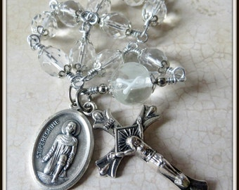 St. Peregrine Rosary, Lung Cancer Rosary, White Awareness Ribbon w/ Patron Saint of Cancer Patients Medal