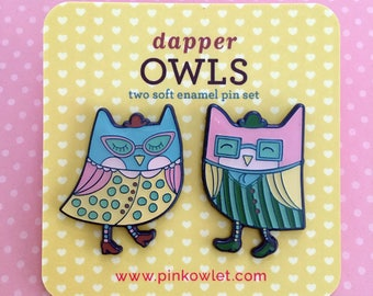 Dapper Owls Enamel Pin Set