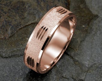 Mens Wedding Band, Rose Gold Ring, 14K gold Mens Wedding Ring, Brushed Grooved Mens Ring Anniversary Rings Mens Gift Wedding Ring Mens