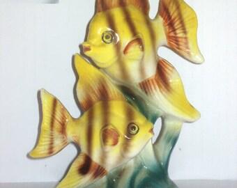 Nippon Japan Ceramic 2 Yellow Angel Fish Animal Figurine Striped Twins Tropical Ocean