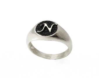 Pinky ring. Silver ring. Monogram ring. Unisex ring. Monogram ring. Initial oxide ring. Gift for her. Signet ring. Personalized ring. (2131)