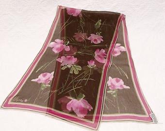 Vintage Vera scarf, ladybug, Vera Neumann, 1960 scarves, pink, brown, Verasheer, flower print, spring accessory