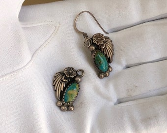 Vintage Navajo Earrings Silver Turquoise Floral Design
